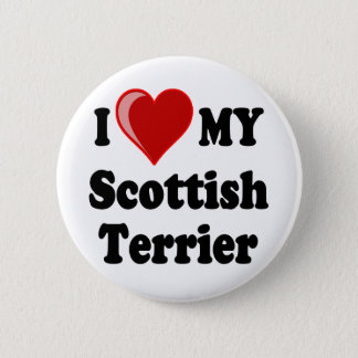 I Love (Heart) My Scottish Terrier Dog Gifts Button