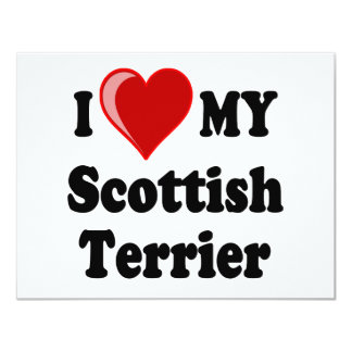 I Love (Heart) My Scottish Terrier Dog Gifts 4.25x5.5 Paper Invitation Card