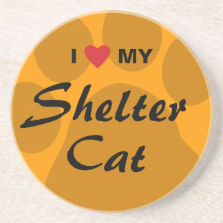 I Love (Heart) My Shelter Cat Beverage Coasters