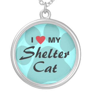 I Love (Heart) My Shelter Cat Silver Plated Necklace