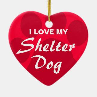 I Love (Heart) My Shelter Dog Double-Sided Heart Ceramic Christmas Ornament