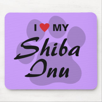 I Love (Heart) My Shiba Inu Mouse Pad