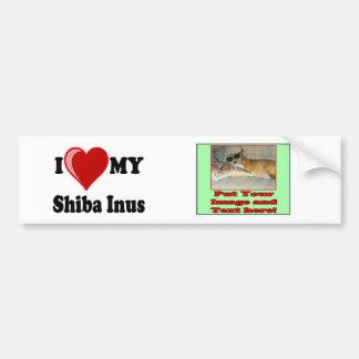 I Love (Heart) My Shiba Inus Dog Bumper Sticker