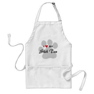 I Love (Heart) My Shih Tzu Pawprint Adult Apron