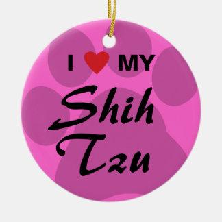 I Love (Heart) My Shih Tzu Pawprint Ceramic Ornament