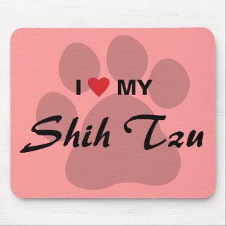 I Love (Heart) My Shih Tzu Pawprint Mouse Pad