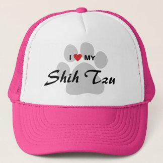 I Love (Heart) My Shih Tzu Pawprint Trucker Hat