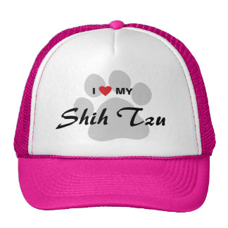 I Love (Heart) My Shih Tzu Pawprint Trucker Hat