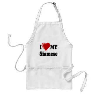 I Love Heart My Siamese Cat Aprons