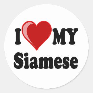 I Love (Heart) My Siamese Cat Classic Round Sticker
