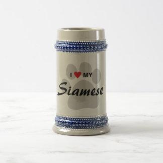 I Love (Heart) My Siamese Cat Pawprint 18 Oz Beer Stein