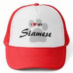 I Love (Heart) My Siamese Cat Pawprint Trucker Hat
