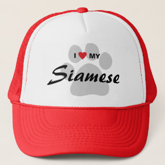 I Love (Heart) My Siamese Cat Pawprint Trucker Hat