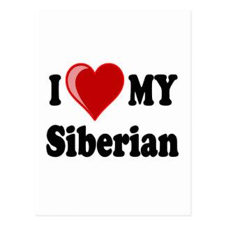 I Love (Heart) My Siberian Cat Postcard