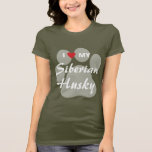 I Love (Heart) My Siberian Husky Pawprint T-Shirt