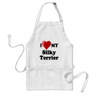 I Love (Heart) My Silky Terrier Dog Adult Apron