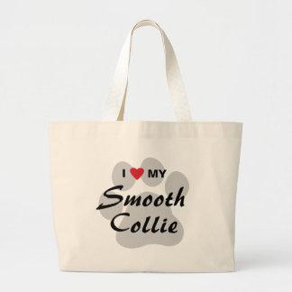 I Love (Heart) My Smooth Collie Pawprint Jumbo Tote Bag