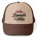 I Love (Heart) My Smooth Collie Pawprint Trucker Hat