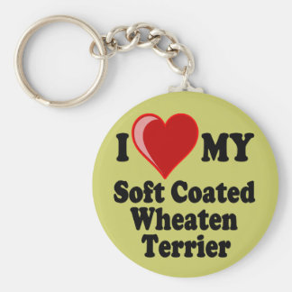 I Love (Heart) My Soft Coated Wheaten Terrier Dog Keychain