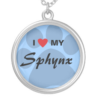 I Love (Heart) My Sphynx Pawprint Design Silver Plated Necklace