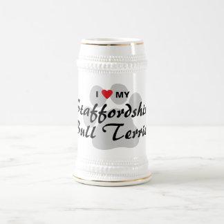 I Love (Heart) My Staffordshire Bull Terrier Beer Stein