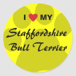 I Love (Heart) My Staffordshire Bull Terrier Classic Round Sticker