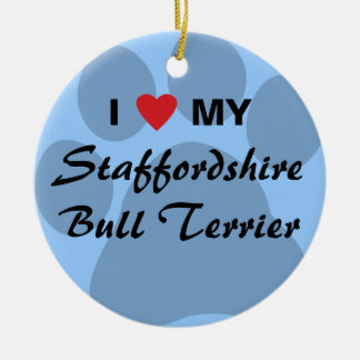 I Love Heart My Staffordshire Bull Terrier Christmas Ornaments