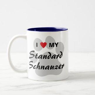 I Love (Heart) My Standard Schnauzer Two-Tone Coffee Mug