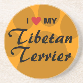 I Love (Heart) My Tibetan Terrier Drink Coaster