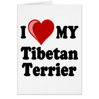 I Love (Heart) My Tibetan Terrier Dog Greeting Cards