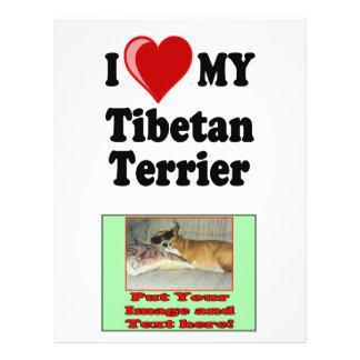 I Love (Heart) My Tibetan Terrier Dog Custom Flyer