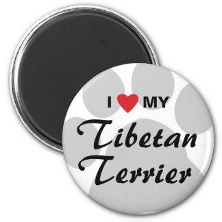I Love (Heart) My Tibetan Terrier 2 Inch Round Magnet
