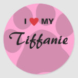 I Love (Heart) My Tiffanie Pawprint Classic Round Sticker