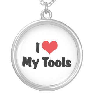 I Love Heart My Tools - Handyman Craftsman Builder Silver Plated Necklace