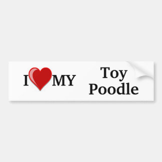 I Love (Heart) My Toy Poodle Dog Car Bumper Sticker