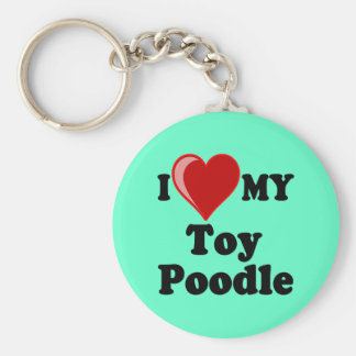I Love (Heart) My Toy Poodle Dog Keychain