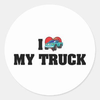 I Love Heart My Truck - Truck Lover Classic Round Sticker