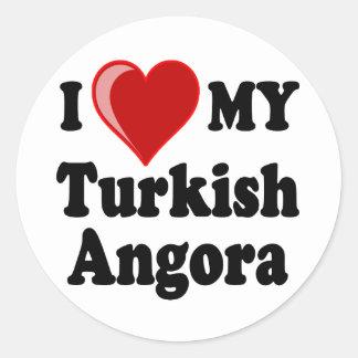 I Love (Heart) My Turkish Angora Cat Classic Round Sticker