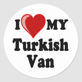 I Love (Heart) My Turkish Van Cat Classic Round Sticker