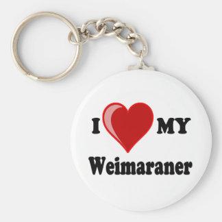 I Love (Heart) My Weimaraner Dog Keychains