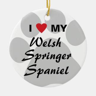 I Love (Heart) My Welsh Springer Spaniel Double-Sided Ceramic Round Christmas Ornament