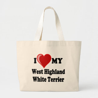 I Love (Heart) My West Highland White Terrier Dog Tote Bags