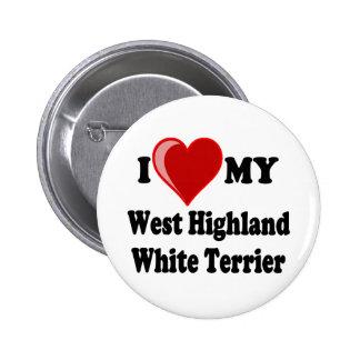 I Love (Heart) My West Highland White Terrier Dog Pins