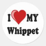I Love (Heart) My Whippet Dog Classic Round Sticker