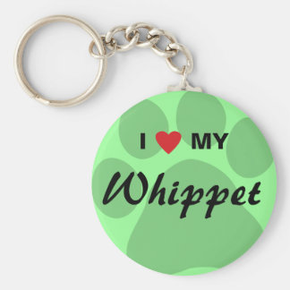 I Love (Heart) My Whippet Pawprint Keychains