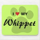 I Love (Heart) My Whippet Pawprint Mousepad