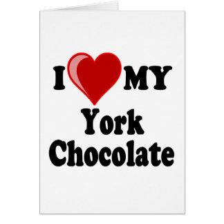 I Love (Heart) My York Chocolate Cat Greeting Cards