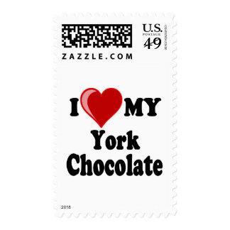 I Love (Heart) My York Chocolate Cat Stamp