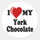 I Love (Heart) My York Chocolate Cat Stickers