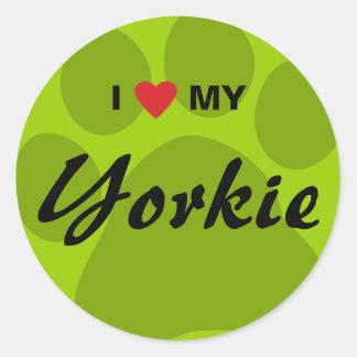 I Love(Heart) My Yorkshire Terrier/Yorkie Pawprint Classic Round Sticker